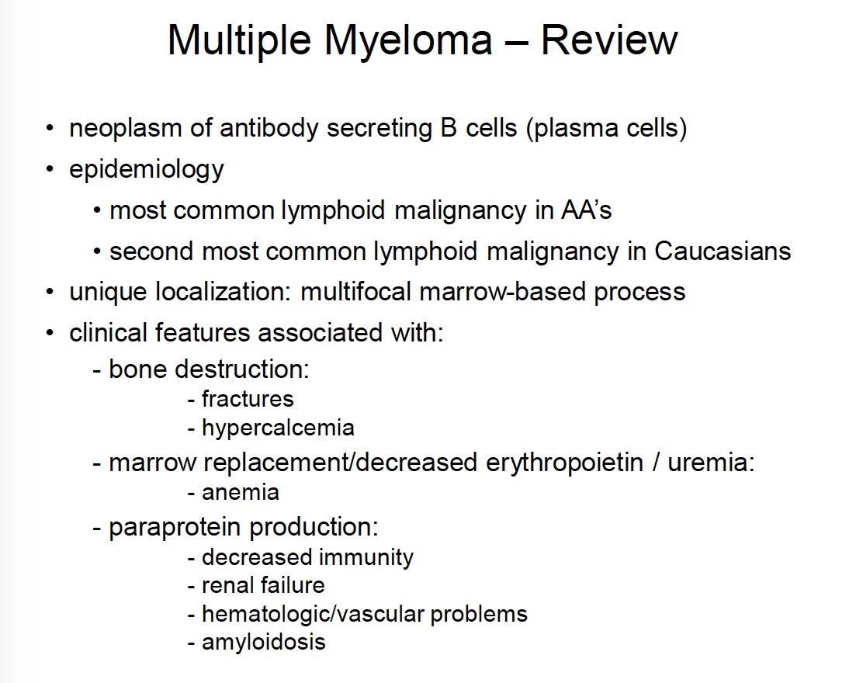 multiple myeloma 1/20 (onc) flashcards | memorang