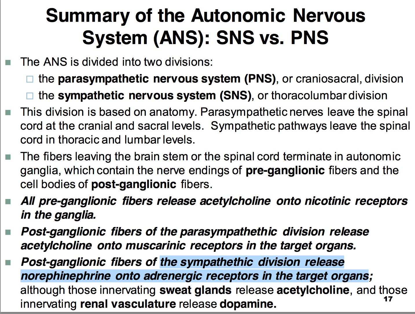 CCF L11 Autonomic Nervous System (Physiology) Flashcards | Memorang