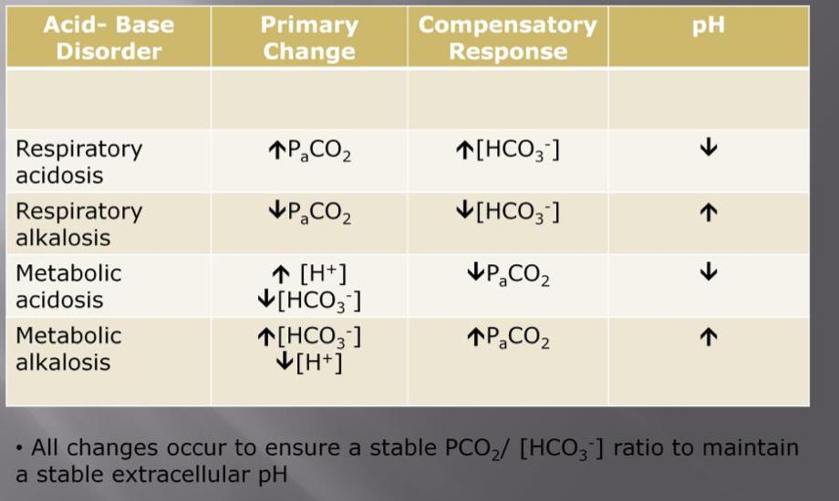 Acid base interpretation w week 5 flashcards memorang summary of acid base disorders ccuart Image collections