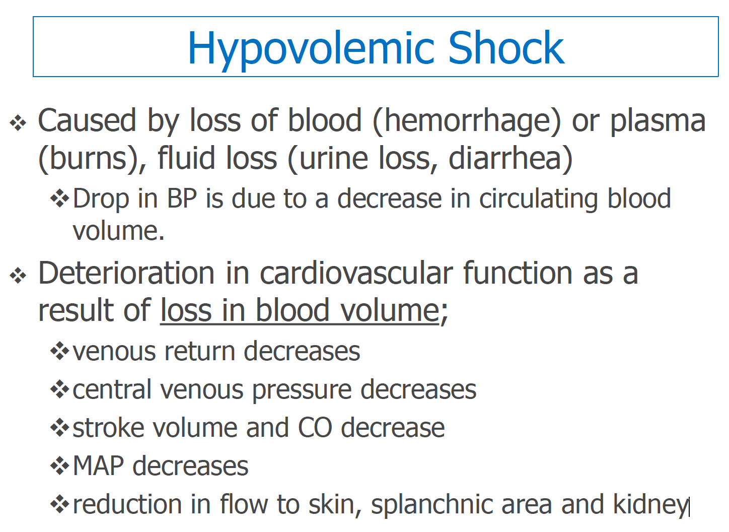 What is hypovolemic shock