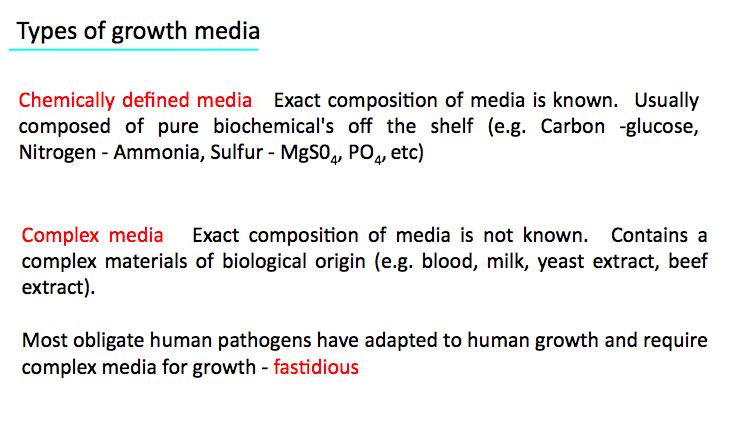 Most Obligate Human Pathogens Must Be Grown On Complex Media (blood Agar,  Chocolate Agar