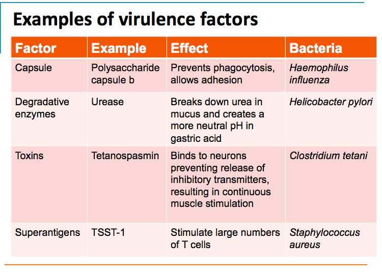 Virulence factor classes and some examples of each. Key; ttss.